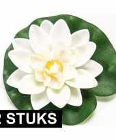 2x witte lotus waterlelies kunstbloemen 10 cm