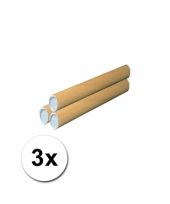 3 knutsel kokers van bruin karton 50 cm