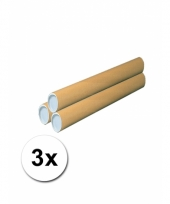 3 knutsel kokers van bruin karton 64 cm
