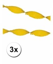 3 lange crepe papier slingers geel 5m