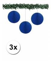 3 papieren bruiloft deco ballen blauw 10 cm