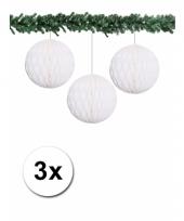 3 papieren bruiloft deco ballen wit 10 cm