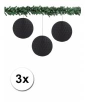 3 papieren bruiloft deco ballen zwart 10 cm