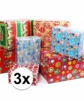 3 rollen kadopapier kerstmis