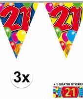 3 vlaggenlijnen 21 jaar met gratis sticker
