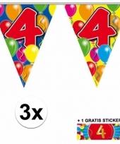 3 vlaggenlijnen 4 jaar met gratis sticker