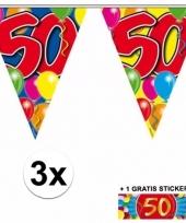 3 vlaggenlijnen 50 jaar met gratis sticker