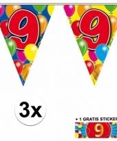 3 vlaggenlijnen 9 jaar met gratis sticker