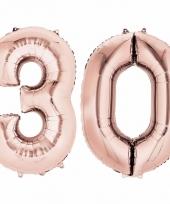 30 jaar geworden cijfer ballon rose goud