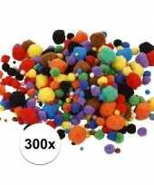 300x knutsel pompons 15 40 mm kleuren