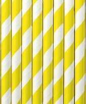 30x papieren rietjes geel wit gestreept