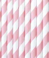 30x papieren rietjes lichtroze wit gestreept