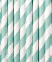 30x papieren rietjes mintgroen wit gestreept