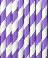 30x papieren rietjes paars wit gestreept