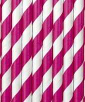 30x papieren rietjes roze wit gestreept