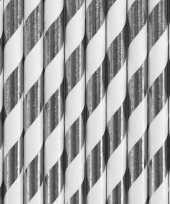 30x papieren rietjes zilver wit gestreept