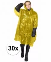 30x wegwerp regen poncho geel
