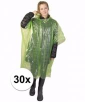 30x wegwerp regen poncho groen