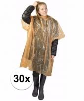 30x wegwerp regen poncho oranje