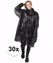 30x wegwerp regen poncho zwart