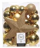 33x gouden kerstballen met ster piek 5 6 8 cm kunststof mix
