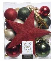 33x rode groene champagne kerstballen met ster piek 5 6 8 cm kun