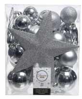 33x zilveren kerstballen met ster piek 5 6 8 cm kunststof mix