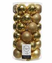 36x gouden kerstballen 6 cm kunststof mix