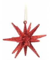 3d ster rood met glitters 7 cm