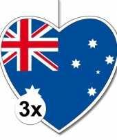 3x australie hangdecoratie harten 28 cm