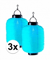 3x blauwe chinese lampionnen op zonne energie