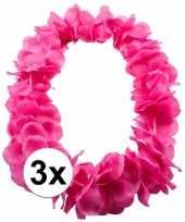 3x bloemen ketting roze