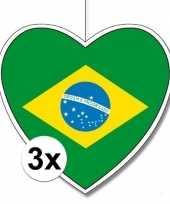 3x brazili hangdecoratie harten 28 cm