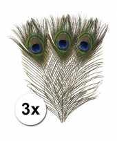 3x decoratie pauwen veren hobby materiaal