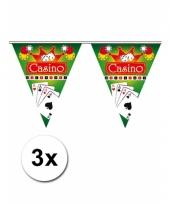3x feestversiering vlaggenlijn casino
