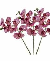 3x fuchsia roze phaleanopsis vlinderorchidee kunstbloemen 70 cm