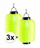 3x gele chinese lampionnen op zonne energie