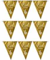 3x gouden eid mubarak thema vlaggenlijnen slingers 6 meter