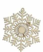 3x houten sneeuwvlok type 2 kerstversiering hangdecoratie 10 cm