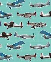 3x inpakpapier cadeaupapier vliegtuigen 200 x 70 cm mintgroen