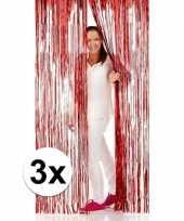 3x rode folie deurgordijnen