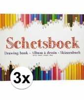 3x schetsboeken tekenboeken a4 formaat 80 vellen