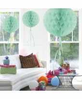 3x stuks decoratie bollen mint groen 30 cm