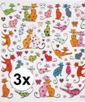 3x velletjes poezen knutsel stickers