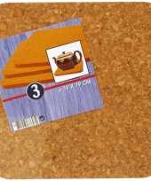 3x vierkante onderzetters van kurk 19 cm