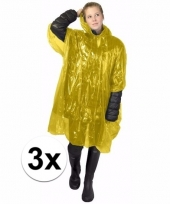 3x wegwerp regen poncho geel
