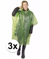 3x wegwerp regen poncho groen