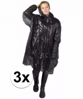 3x wegwerp regen poncho zwart