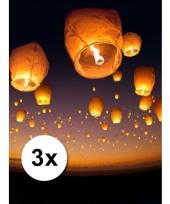 3x wens en geluk ballonnen wit voordeelpak