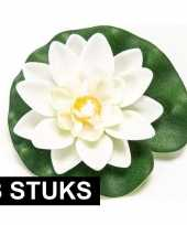3x witte lotus waterlelies kunstbloemen 10 cm
